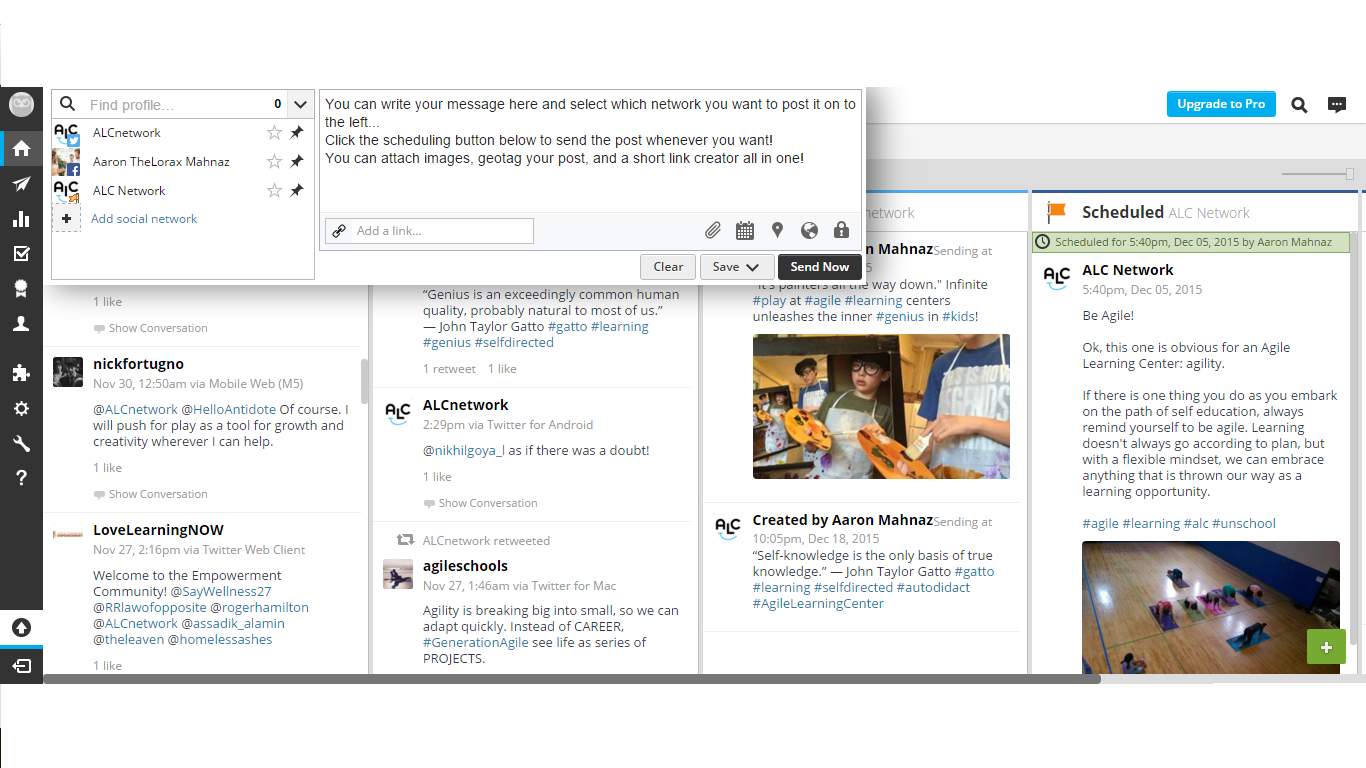 hootesuite compose message filled